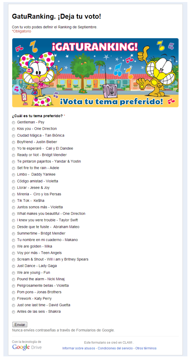 Encuesta Gatu-Ranking de la Radio Mundo Gaturro